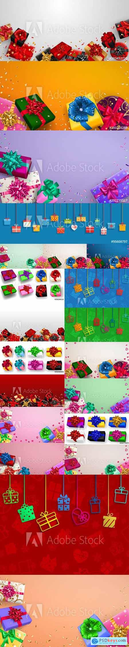 Vector Set - Multicolored Gift Boxes with Ribbons Illustrations