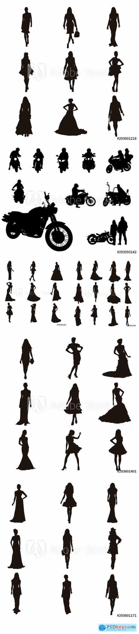 Vector Set - Fashion Model Silhouettes and Motor Bike Background