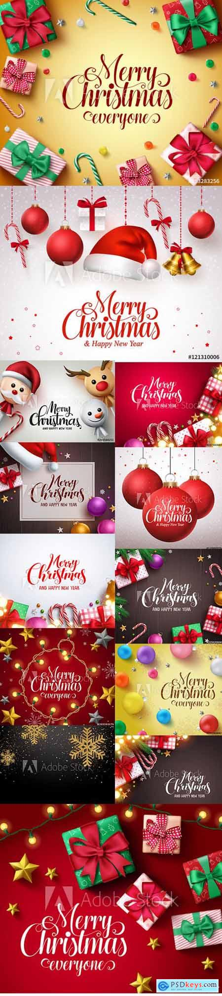 Vector Set - Merry Christmas and Happy New Year Backgrounds Template with Decor vol2