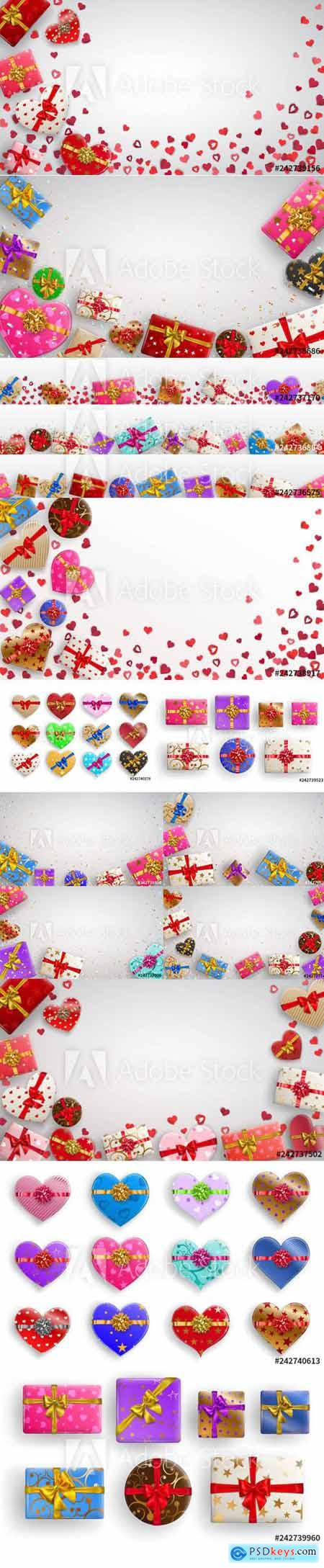 Vector Set of Colorful Gift Isolated Boxes with Ribbons and Various Background