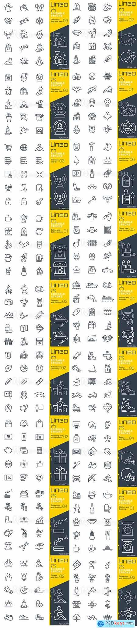 Vector Set - Outline Icons Pack Lineo Vol 3