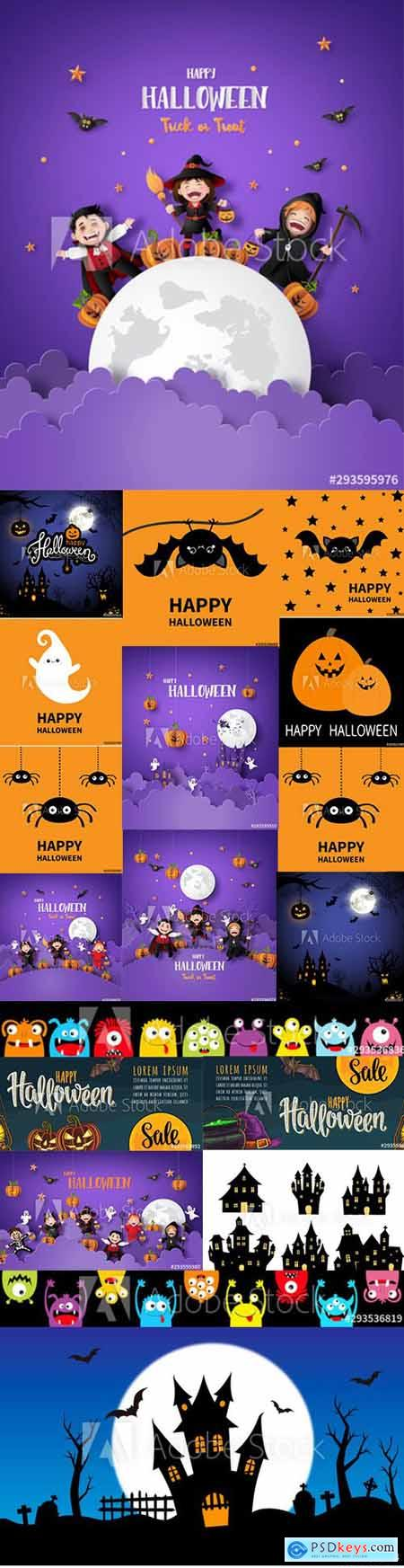 Vector Set of Happy Halloween Illustrations with Cute Cartoon Caracher