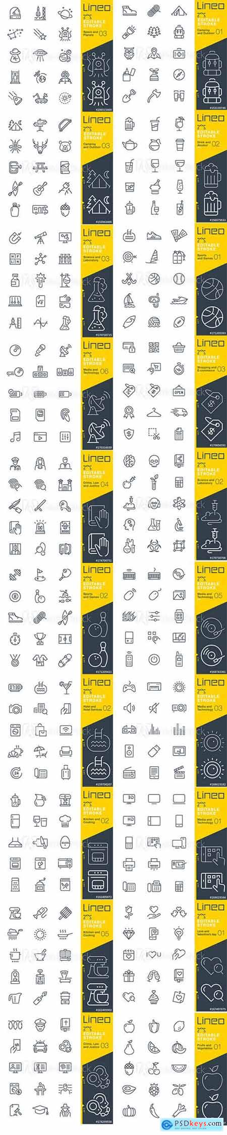 Vector Set - Outline Icons Pack Lineo Vol 4