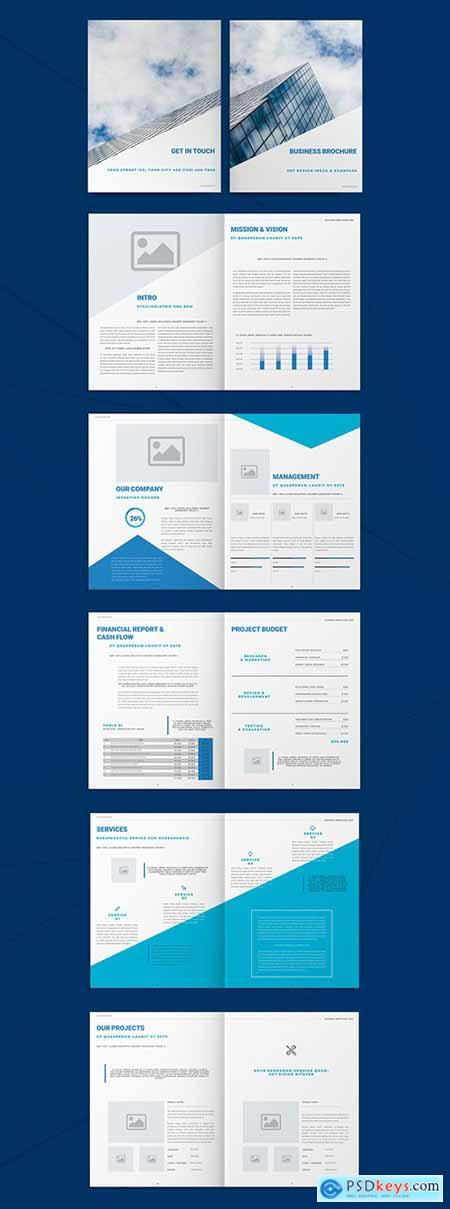 Business Brochure Layout with Blue Accents 293455292