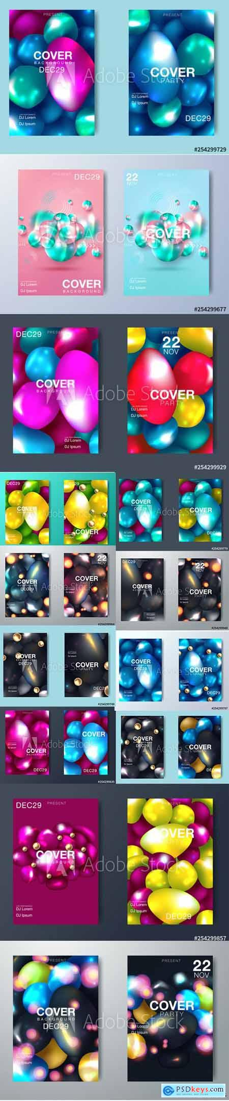 Vector Set - Modern Abstract Party Posters and Gradient Backgrounds