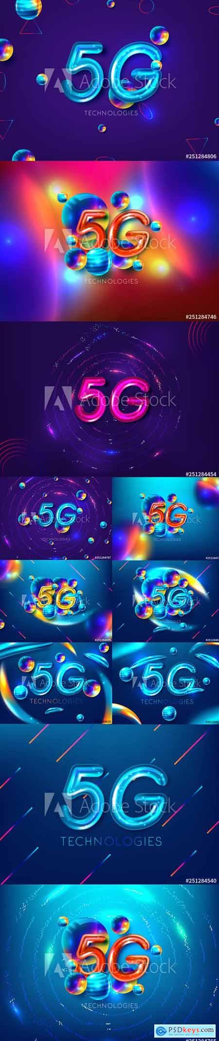 Vector Set - Global Network High Speed 5G new wireless internet