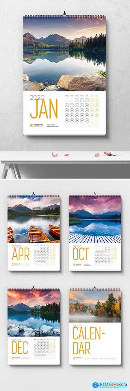Wall Calendar Layout with Yellow Accents 293432513