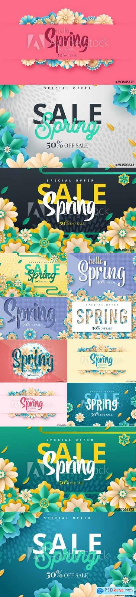 Set of Spring Sale Backgrounds with Flowers vol2