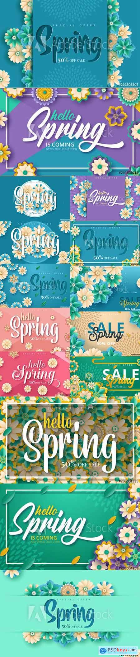 Set of Spring Sale Backgrounds with Flowers