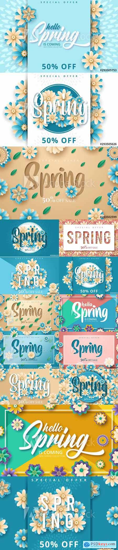 Set of Spring Sale Backgrounds with Flowers vol4