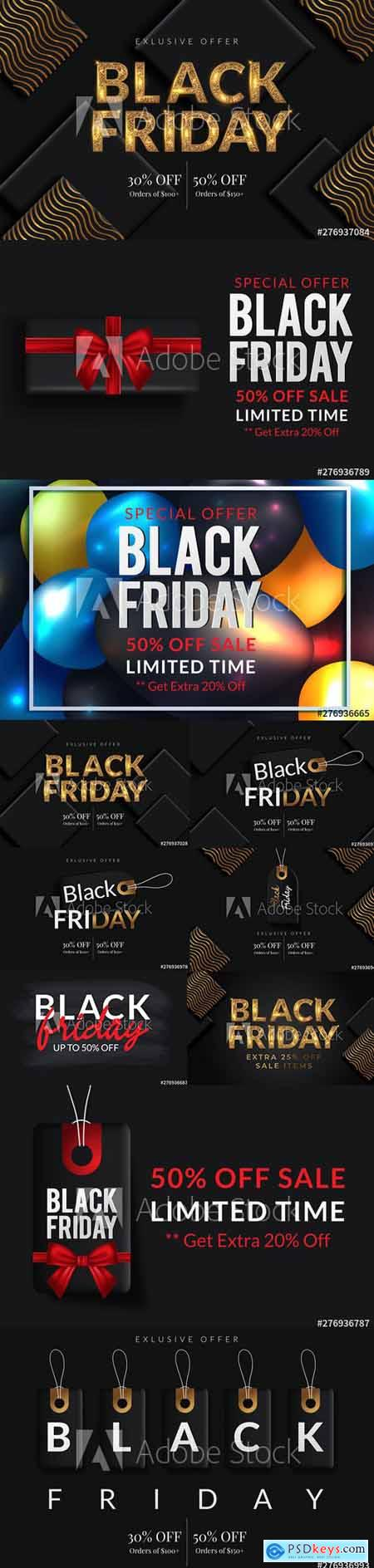 Vector Set - Black Friday Sale Poster Banner Illustration vol 3