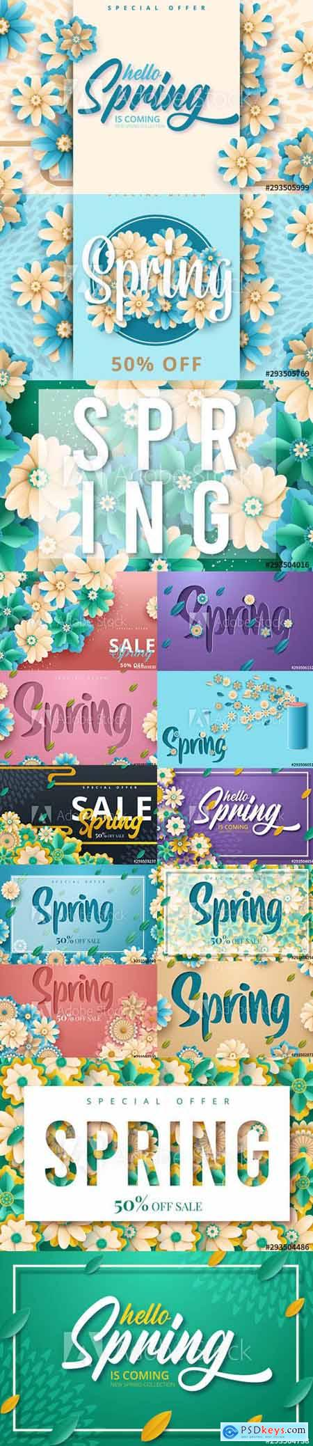 Set of Spring Sale Backgrounds with Flowers vol3