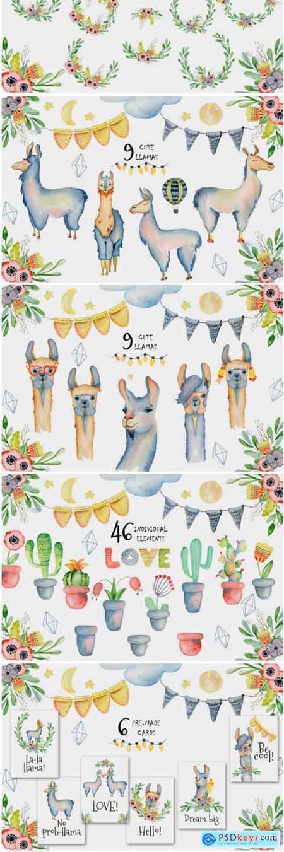 Cute Llamas. Watercolor Animals Clipart 1796142