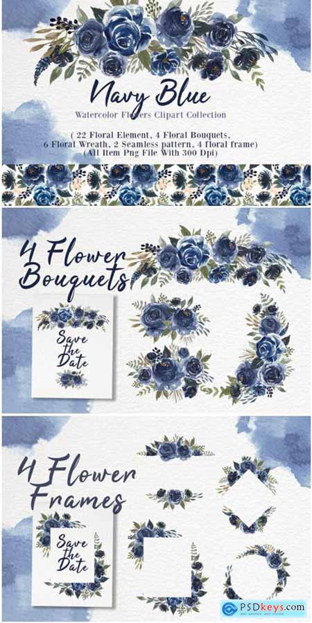 Navy Blue Flower Watercolor Clip-art 1838708