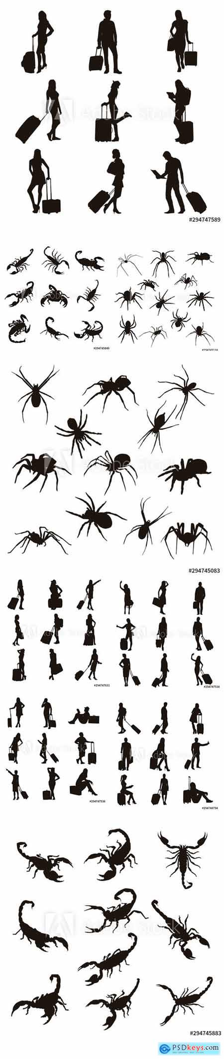 Vector Set of People with Travel Bag, Scorpion and Spider Illustration