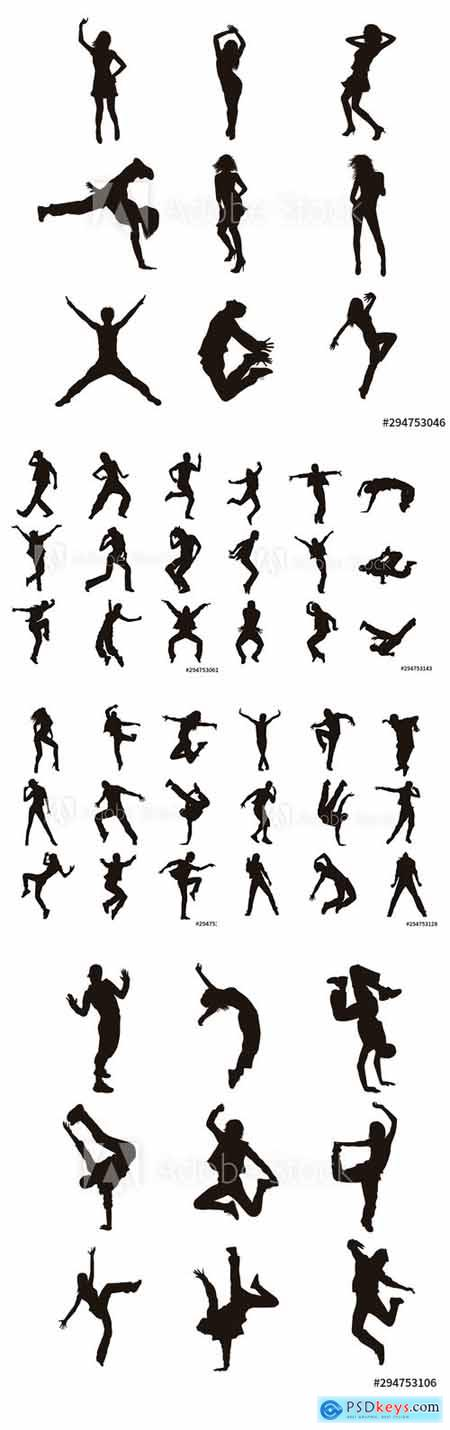 Vector Set of Dancer Silhouettes Illustration