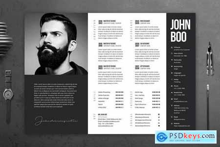 Minimal Black and White CV Template 52