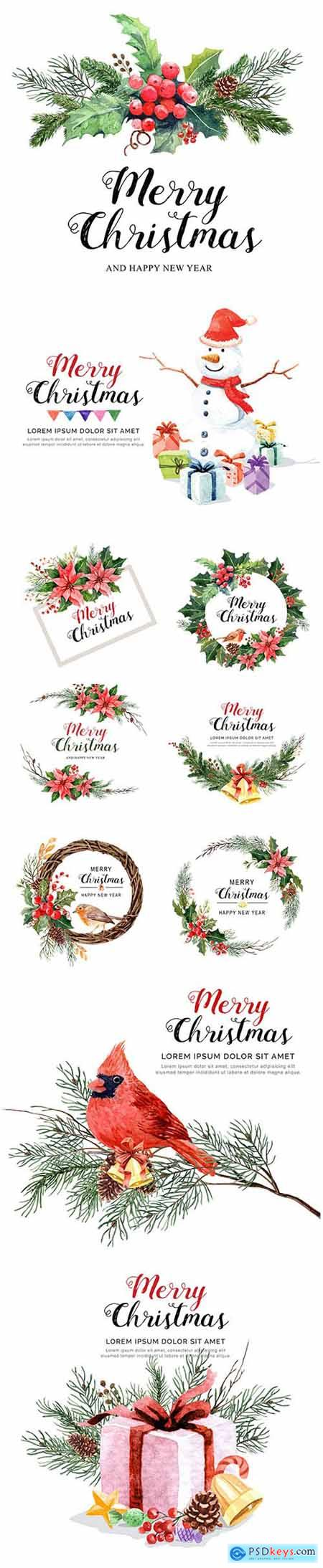 Vector Set - Watercolor Christmas Illustrations with Decor