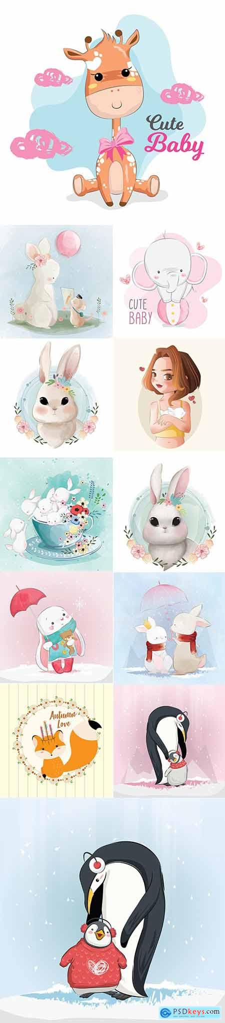 Set of Hand Draw Watercolor Adorable Animals Illustrations Vol 3