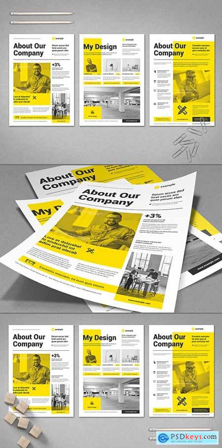 Black and White Flyer Layout with Yellow Elements 295114444