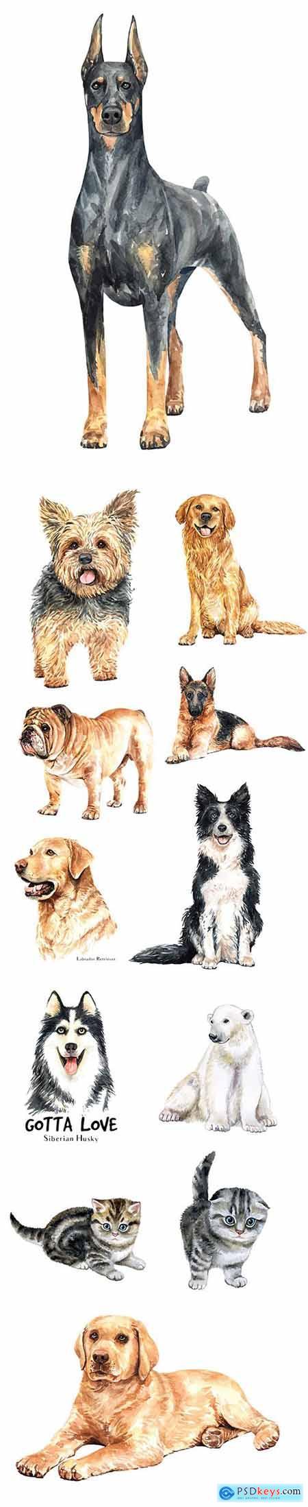 Vector Set - Watercolor Printing Animals Vol 7