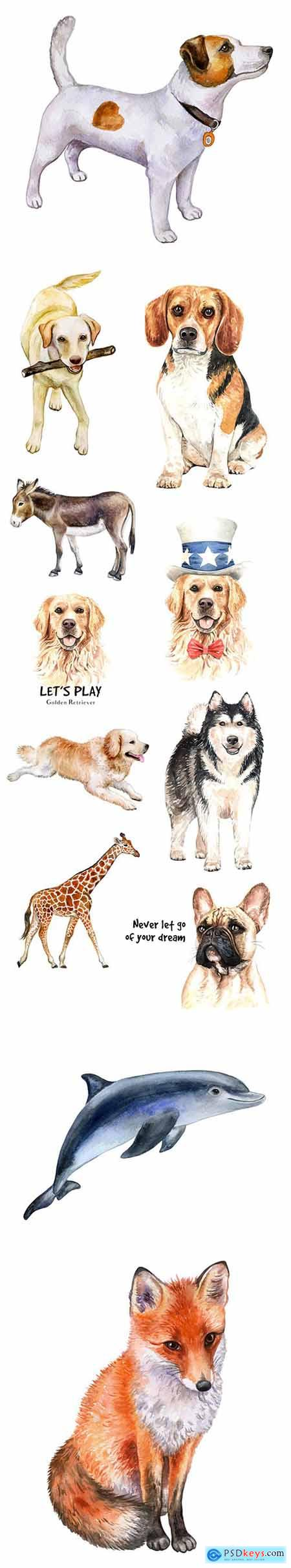 Vector Set - Watercolor Printing Animals Vol 3