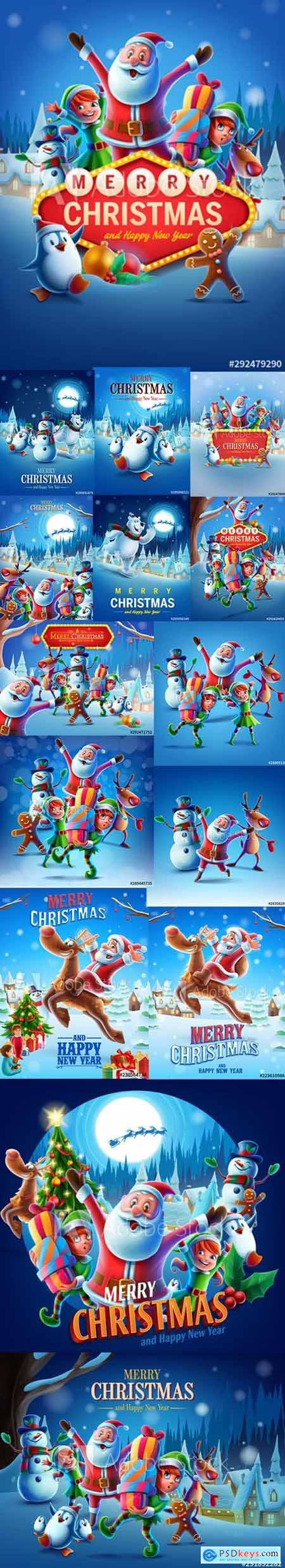Vector Set - Christmas Illustrations with Santa Claus and Reindeer