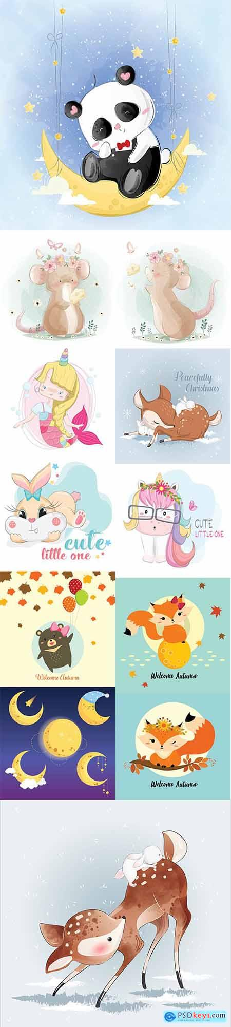 Set of Hand Draw Watercolor Adorable Animals Illustrations Vol 5