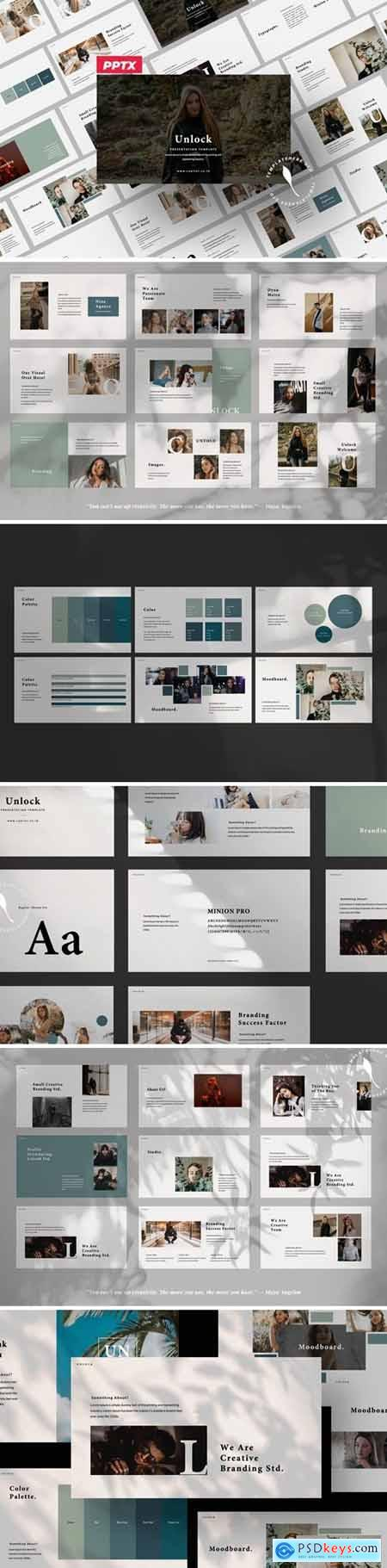 Unlock Business Brand Powerpoint, Keynote and Google Slides Templates