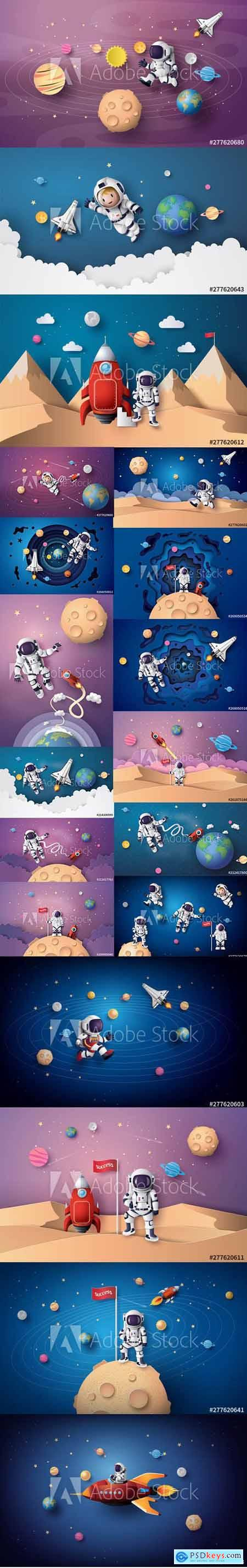 Set of Astronaut Floating in the Stratosphere and on the Moon