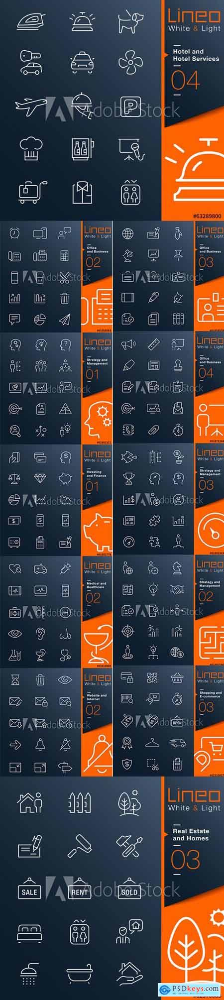 Vector Set - Lineo White and Light Outline Icons Vol 2