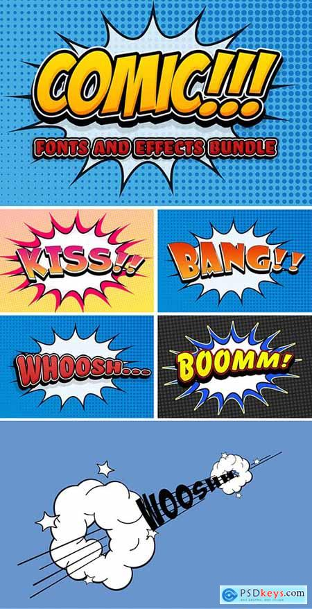 Comic Text Effect Mockup Bundle with Graphic Elements 291567989