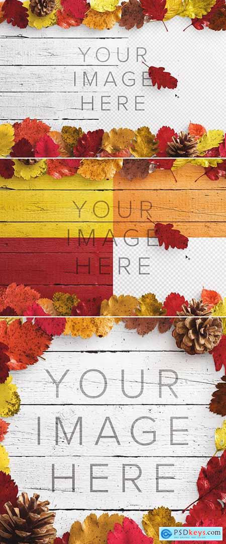 Autumn Leaves on Wood Surface Mockup 289174391