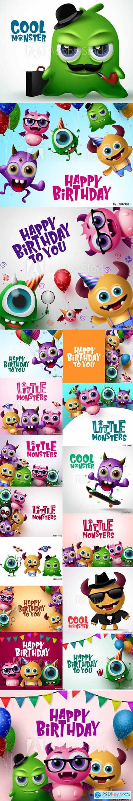 Vector Set - Little Cute 3d Monster Background