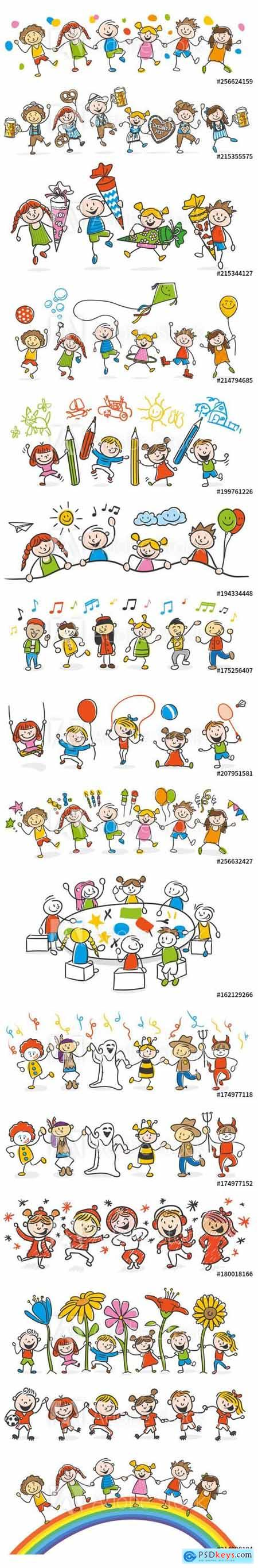 Vector Set - Kids Playing Together
