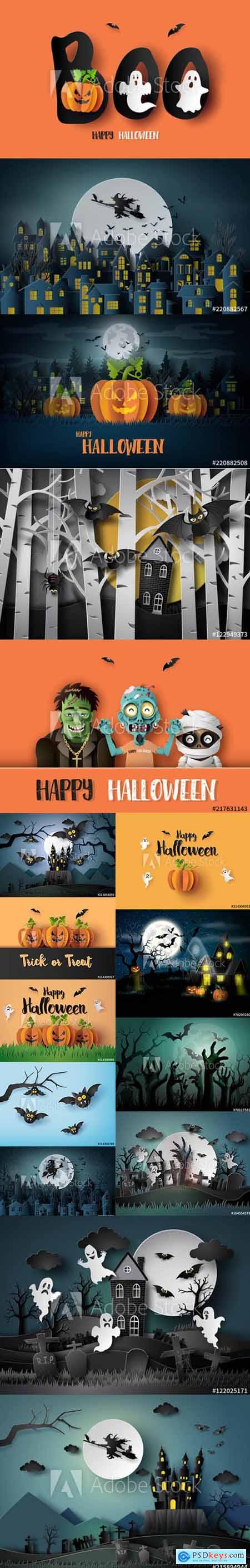 Vector Set - Paper Art of Happy Halloween