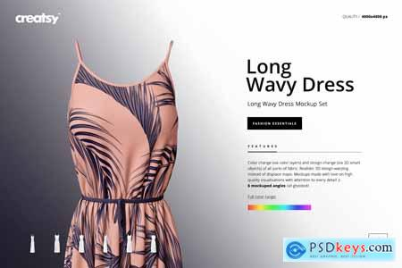 Long Wavy Dress Mockup Set 3750816