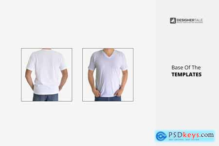 Men V Collar T Shirt Mock Up 4174863