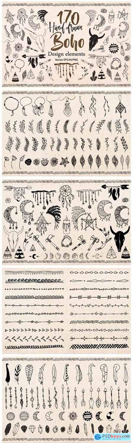 Boho Tribal Design Elements Clipart 1786734