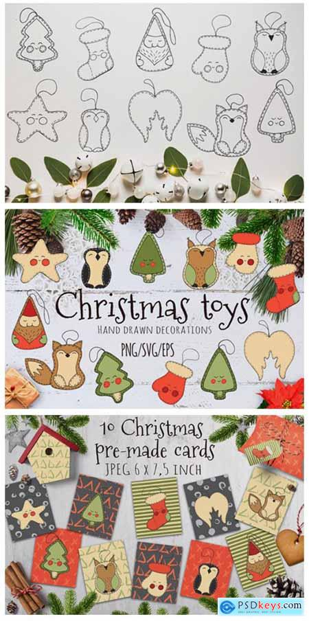 Christmas Toys Hand Drawn Decorative Set 1786710