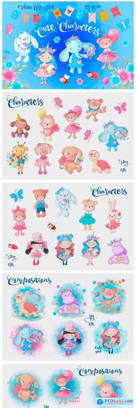 Cute Characters – Vector Clip Art 1845144