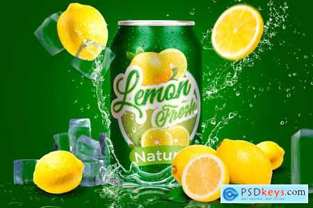 Tin Can Water Droplets Lemon Mockup 3754132