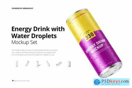 Energy Drink Can Mock-up with Water Droplets