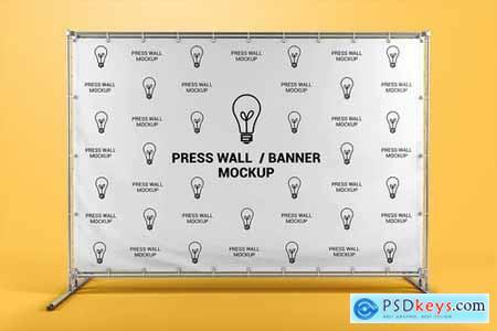 Press Wall Stand Banner Mockup