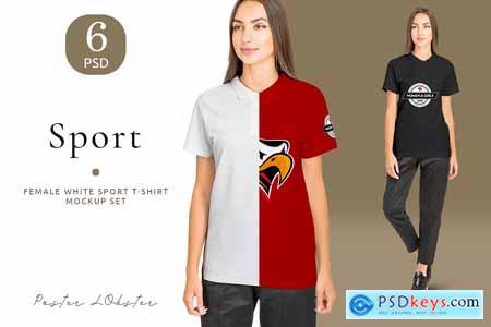 Women sport t-shirt mockup set 4158156