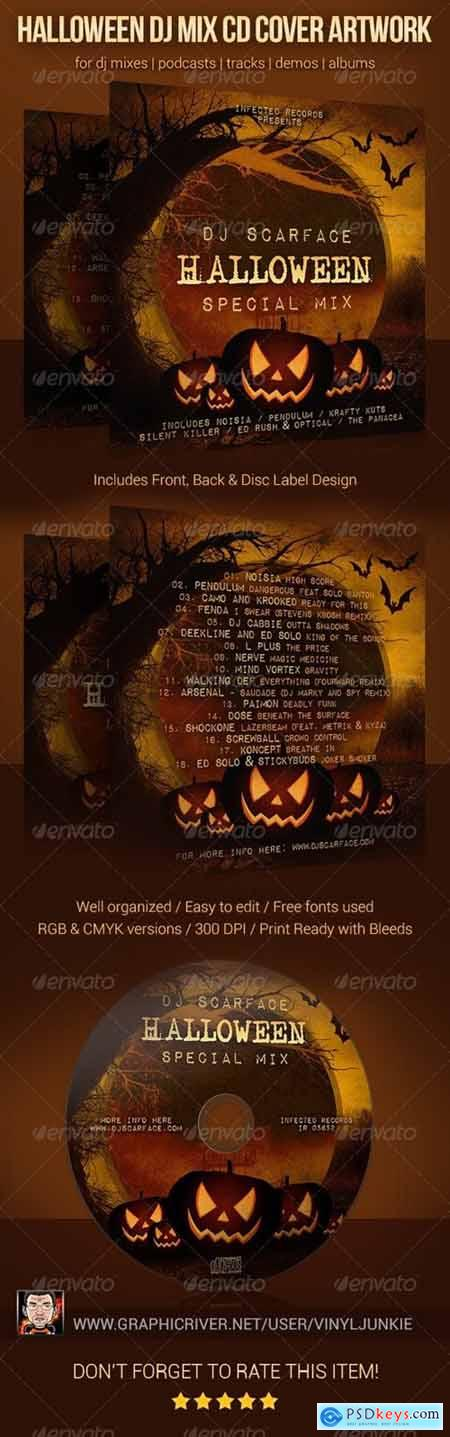 Halloween DJ Mix CD Cover Artwork Template 5872020