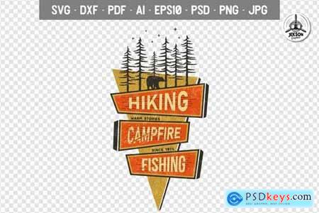 Retro Hiking Badge, Mountain Adventure Camp Label