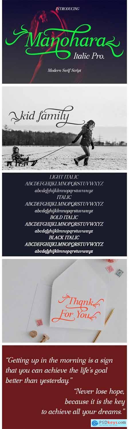 Manohara Pro Italic Font