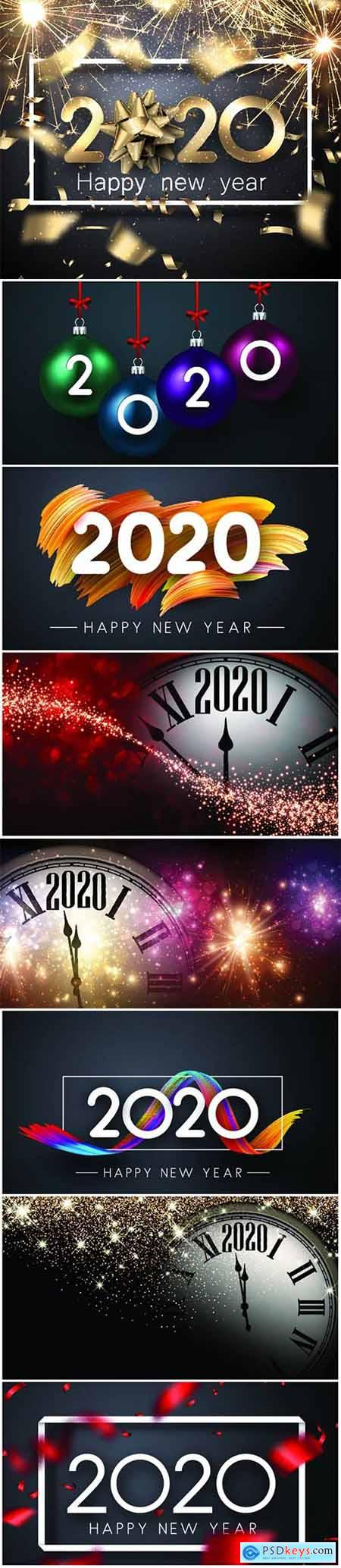 Happy New Year 2020 card with sparklers, bow and blurred golden confetti