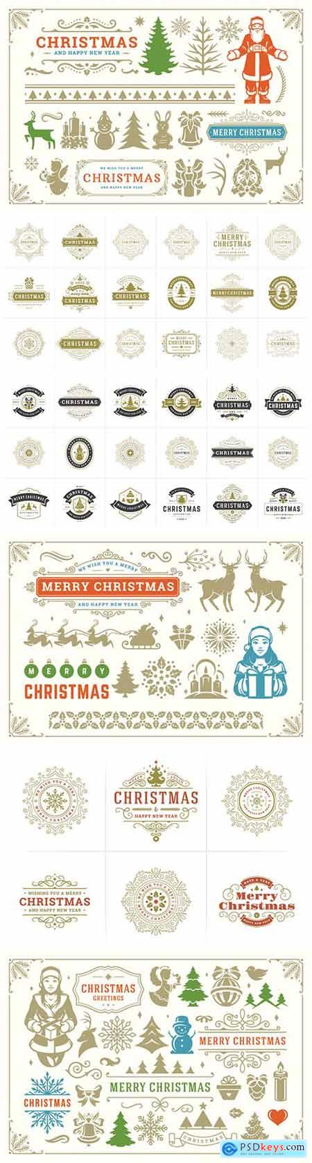 Christmas vector decoration symbols, ornate vignettes and icons